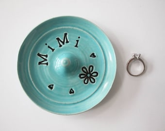 Mimi ring dish -  Ready to Ship  - Gift for Mimi - Sea Isle Blue Turquoise