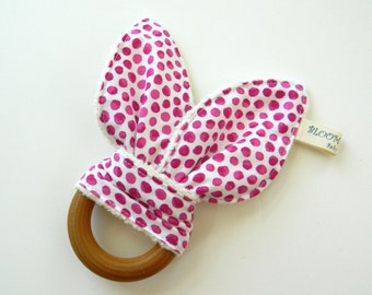 Wooden Teething Ring, Teething Ring, Teething Toy for Babies, Baby Toy, Teether, Modern Baby Gift, Baby Girl Gift, Pink Polka Dot