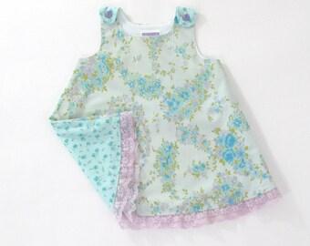 Pastel Blue Vintage Floral Girls' Dress w/ Purple Lace Trim, Baby Dress,  Toddler Dress, Girls' Pinafore, Sundress, Size 12 - 18 Months