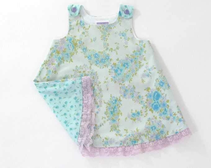 Blue Vintage Floral Girls Dress w/ Purple Lace Trim, Baby Dress,  Toddler Dress, Girls Pinafore, Sundress, Girls Dresses Size 12 - 18 Months