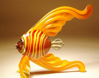 Handmade Blown Glass Art Figurine Orange with Red and Yellow Striped Body ANGELFISH Fish