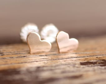 gold filled sweetheart studs on sterling silver posts