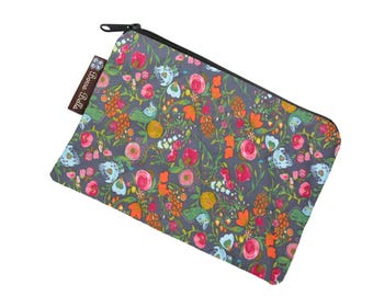 Small Zippered Bag - Catch All Bag stores chargers cords - cosmetic bag - Zippered Pouch - Small Pouch - FAST SHIPPING - Love Blooms Fabric