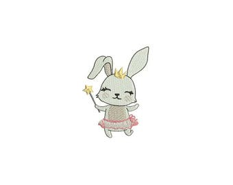 Machine Embroidery Bunny Princess Ballerina Machine Embroidery File design 4x4 inch hoop
