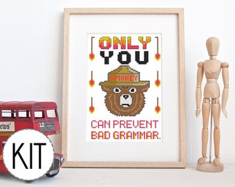 Beginner Cross Stitch Kit - Smokey the Bear Grammar - Modern Cross Stitch Kit Funny Cross Stitch Kit Embroidery Kit Subversive Cross Stitch