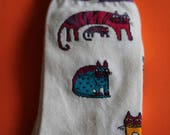 VINTAGE Laurel Burch cat sock