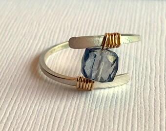 Iolite Gemstone Ring. Sterling silver Gemstone Ring. Wire wrapped iolite gemstone ring.