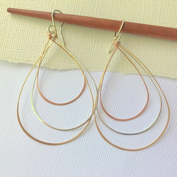 Mixed Metal Delicate Trio Hoops