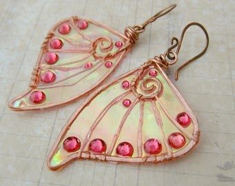 Sihaya Designs Faery Wing Earrings - Pixie Dust  - Iridescent Fairy Wing Jewelry