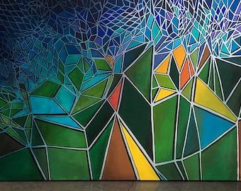 "24x36 geometric ORIGINAL painting - ""Glass Ceilings"""