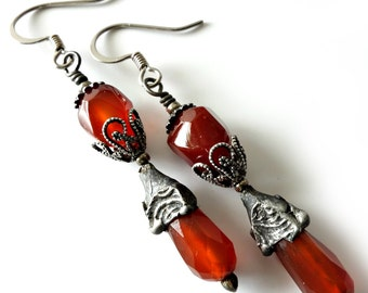 Decorative Tinwork Earrings, Carnelian Gemstones, Silver Earrings, Gunmetal, Rusty Red Orange, Organic, Earthtones, Beaded Earrings, OOAK