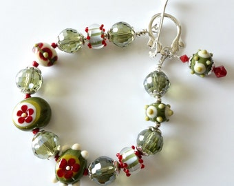 Lampwork Beaded Bracelet, ON SALE, was 125 now 95, Olive Green, Khaki, Red, Cream, Silver, Crystals, Flowers, Stripes, Dots, Beaded Jewelry