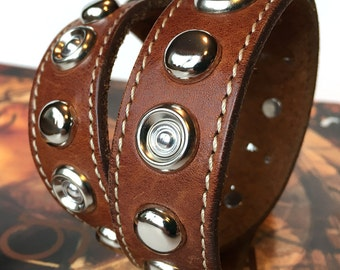 Brown Leather Dog Collar with Silver Metal Studs, Size M-L, to fit a 17-20in Neck, EcoFriendly, Large Dog Collar, Seattle Handmade, OOAK