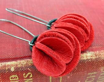 Red Folded Flower Leather Earrings Dangle Drop, Women, Teen Girl, Eco Friendly, Reclaimed Leather, OOAK, Seattle Handmade by Greenbelts