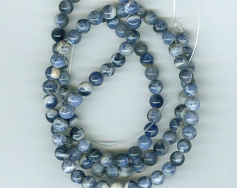 4mm Blue and White Sodalite Round Gemstone Spacer Blue Spot Beads
