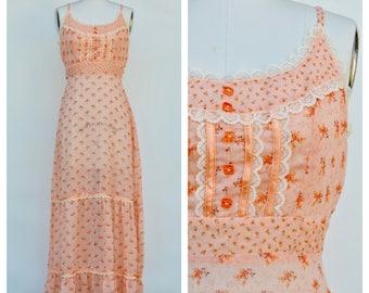 hippie boho summer dress / festival tiny floral long sun dress / small