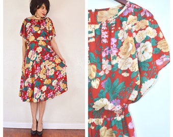 flutter sleeve floral print dress / small