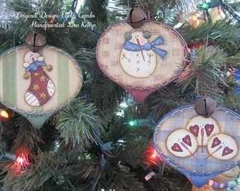 "Set of 3 ""Homespun Frosties"" Wood Ornaments"