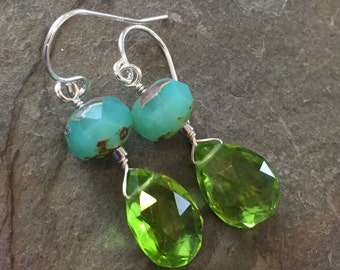 Hydrothermal Peridot Teardrops and Aqua Czech Glass Earrings on Sterling Silver French Wires, Wire Wrapped