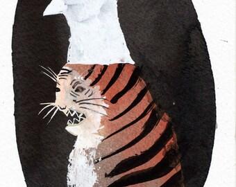 Grumpy Tiger Masquerade Portrait / watercolour gouache original