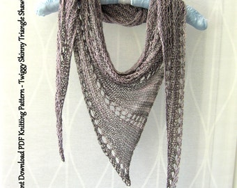 PDF Knitting Pattern Instant Download - Twiggy Skinny Triangle Shawl Scarf