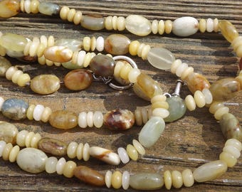 Long Green Jade Agate and Yellow Ethiopian Opal beaded necklace
