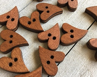 Heart Buttons 10 or 50 20x16mm Primative Heart Shaped Wooden Button Crafts Sewing Brown Natural Craft Button Knitting Crochet Supplies (B11)