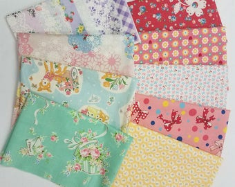 Fat Sixteenth BUNDLE Yuwa - Bundle G -  9 Pieces - Atsuko Matsuyama 30s collection - Perfect for tiny Zakka and the Happy Flower Quilts Book