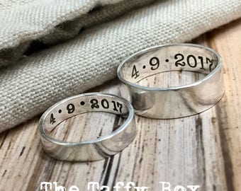 His and Hers Hand Stamped Sterling Silver Wedding Bands