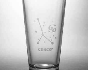 Cancer Zodiac Constellation Pint Glass