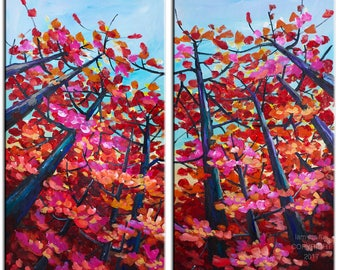 Red Maple art Autumn landscape painting acrylic painting, original large canvas 48x48 Abstract painting by Tim Lam