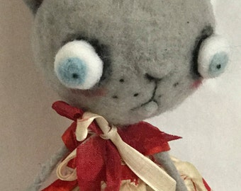 Valentine Party Cat  Ooak  art doll