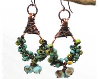 Gypsy earrings, Copper earrings, Boho cluster earrings, Statement earrings, Rustic bohemian earrings, Dangle earrings, Gift for her