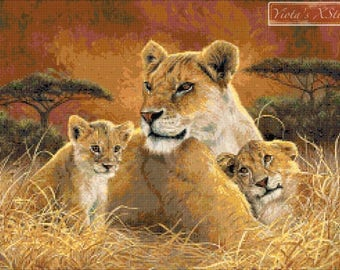 Motherly - lion with cubs counted cross stitch kit
