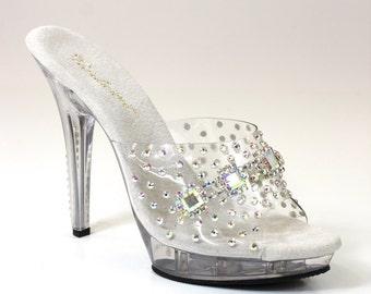 Cascading Rhinestone Heels / Bikini Figure Competition Shoes