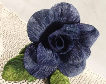 Velvet Blue Rose 3 inch Green Velvet Leaves, Millinery Flower Crown Bridal Wedding Corsages Boutineers Bouquets Crafts