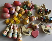 Huge Lot Vintage Wooden Painted Easter Ornaments and Chenille Chicks