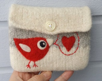 Felted pouch white gray wool bag cozy hand knit needle felted red birdie in love