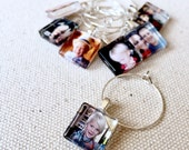 Custom Glass Party Favor Wine Charms l 15mm Square Size l Father's Day, Wedding Party Favors, Birthday, Baby or Bridal Shower, Logo