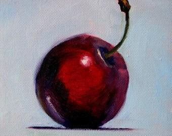 Small Cherry Painting, Original Oil, 6x6 Canvas, Kitchen Wall Decor, Red Fruit, Minimalist, Purple, Black, Blue