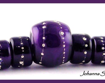 Petite BIG HOLE BEADS Purple and Silver Canyon Echoes Lampwork Beads