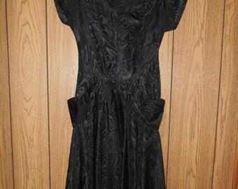 SALE SALE Vintage womens clothing 50's 1950's black  dress