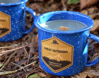 Campfire Candle - Wood Wick Soy Candle in Enamel Camping Mug, 10oz