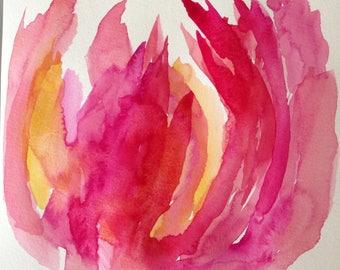 Red petal an original watercolor painting