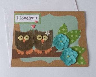 I love you card love card funny love anniversary card owl greeting card boyfriend girlfriend Valentine's Day Card Love Wedding Couple Card