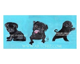 Black PuG Art. Black Pug Illustration. Art. Print. Seafoam. Pugnation. Black Pug Puppy.  3 Sides of an Urban Pug