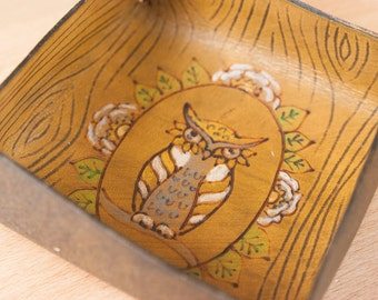 Valet Tray - Leather Catchall Tray with Owl and Woodgrain - Great tray for bedside, nightstand or jewelry -  Yellow, green and antique brown