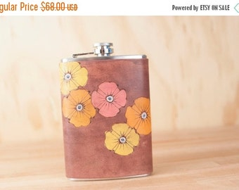 CLEARANCE SALE Flask - Leather Flask - Flower Flask - 8oz Flask - Handmade in the Poppy Garden pattern in yellow, orange, pink and antique m