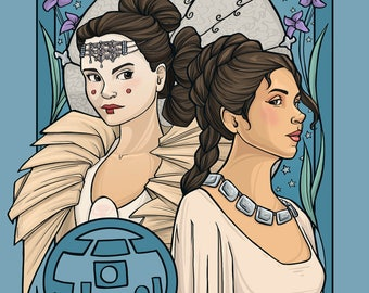 Patreon subscribers only: Leia and Amidala Nouveau 1 Postcard