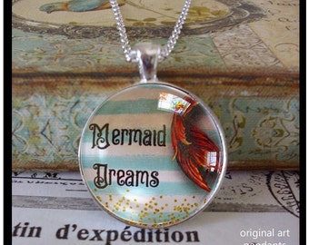 Mermaid Dreams,original art pendants,mermaid jewelry, gift boxed, mermaid pendants, beach pendants,dream,mermaids,glitter,beach,resort,ocean
